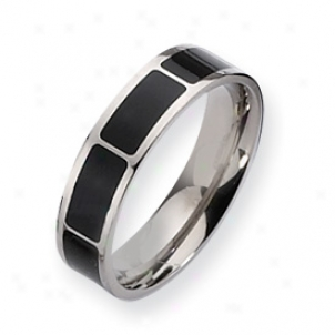 Titanium Black Enamel Flat 6mm Polished Band Ring - Size 9