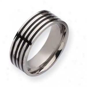 Titanium Black Enamel Flat 8mm Polishrd Band Ring - Size 9.5