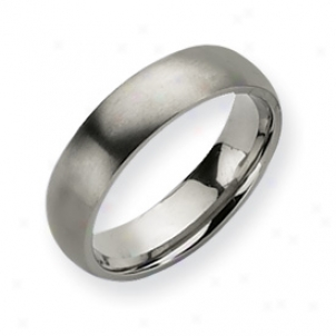 Titanium Brushed Comfort Fit 6mm Wedding Band - Size 13.25