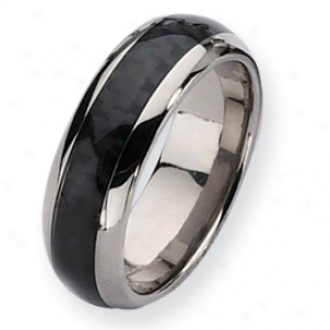 Titanium Carbon Fiber 8mm Polished Band Riinng - Size 12