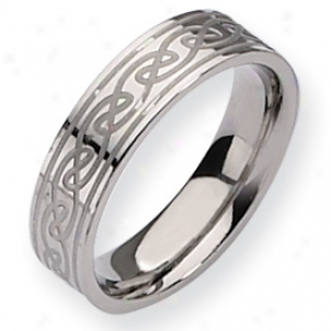 Titanium Celtic Tie 6mm Satin Polished Band Ring Size 12.5