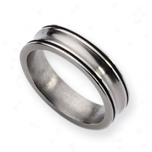 Titanium Enameled Concave 6mm Refined Band Ring - Size 11.5