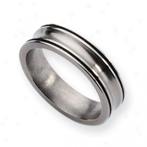 Titanium Enameled Concave 6mm Polished Band Ring - Size 6