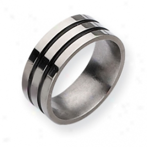 Titanium Enameled Grooved Flat 8mm Polished Band Ring Size 9