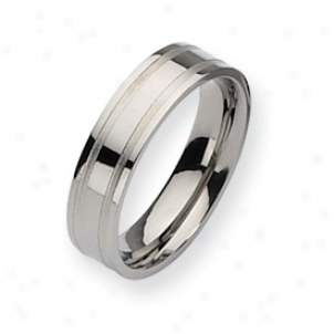 Titanium Grooved 6mm Beushed And Polished Band Ring - Size 6