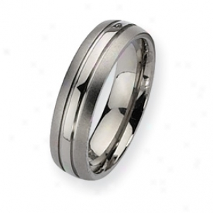 Titanium Grooved 6mm Brushed And Polished Bandage Ring - Size 8