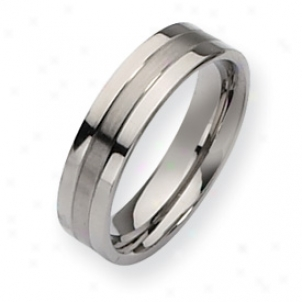 Titamium Grooved 6mm Brusned Polished Band Ring - Size 11.5