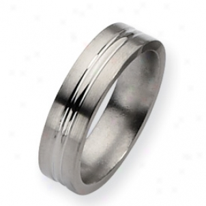 Titanium Grooved 6mm Brushed Poliwhed Band Ring - Size 12