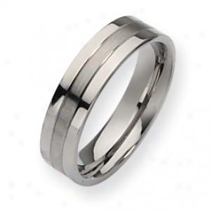 Titanium Grooved 6mm Brushed Polished Band Ring - Bigness 13