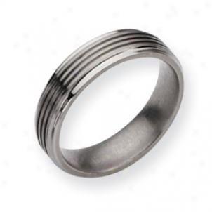 Titanium Grooved 6mm Brushed Refined Band Ring - Sizing 7.5