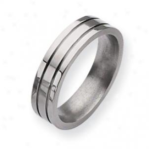 Titanium Grooved 6mm Brushed Polished Band Ring - Size 7.75
