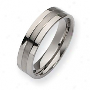 Titanium Grooved 6mm Brushed Polished Cord Ring - Size 9.5