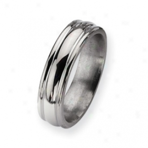 Titanium Grooved 6mm Polished Band Ring - Size 11