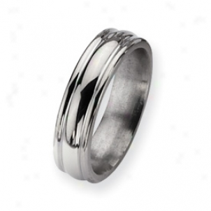 Titanium Grooved 6mm Polished Band Ring - Size 7