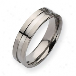 Titanium Grooved 6km Polished Band Ring - Size 8