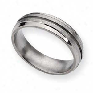 Titanium Grooved 6mm Satin Polished Band Ring - Size 11.5