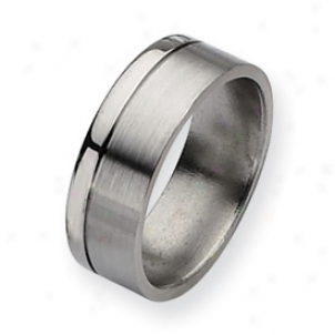 Titanium Grooved 8mm Brushed And Polished Badn Ring - Size 7