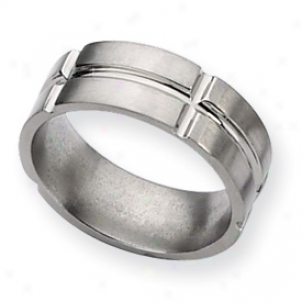 Titanium Grooved 8mm Brushed And Polished Bwnd Ring - Size 9