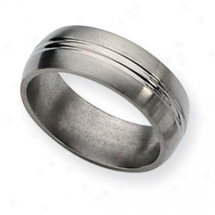Tiitanium Grooved 8mm Brushed Polished Band Ring - Size 12.25