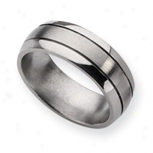 Titanium Grooved 8mm Brushed Polished Band Ring - Size 8.75