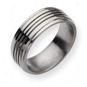 Titanium Grooved 8mm Polished Band Ring - Size 13