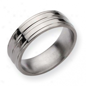 Titanium Grooved 8mm Polished Band Ring - Size 9.5