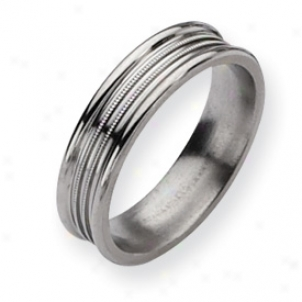 Titanium Grooved And Beaded 6mm Polished Band Ring - Size 11