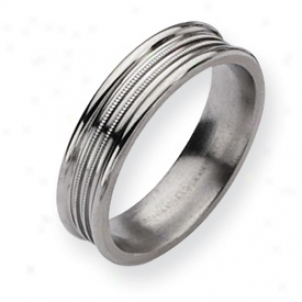 Titanium Grooved Beaded 6mm Polished Band Ring - Size 10.5