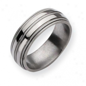 Titanium Grooved Beaded 8mm Polished Band Ring - Size 10.5