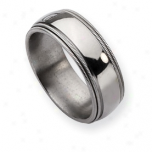 Titanium Grooved Beaded 8mm Polished Band Ring - Size 12.25