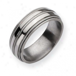 Titanium Grooved Beaded 8mm Polished Band Ring - Size 8.5