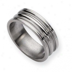 Titanium Grooved Beaded 8mm Polished Band Ring - Size 9.5