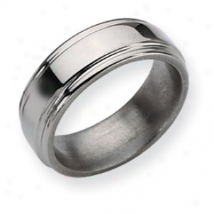 Titanium Grooved Edge 8mm Polished Band Ring - Size 8.75