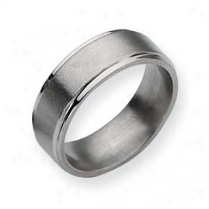 Titanium Grooved Edge 8mm Satin Polished Band Ring Size 7.5