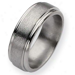 Titanium Grooved Edge 8mm Satin Polished Band - Size 11.25