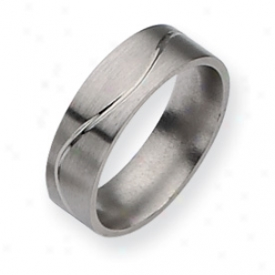 Titanium Grooved Flat 7mm Brushed Polished Band Ring Size 12
