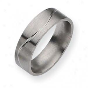 Titanium Grooved Flat 7mm Brusjed Polished Band Ring Size 9