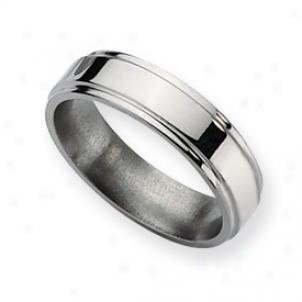 Titanium Ridged Edge 6mm Polished Band Ring - Size 9.5