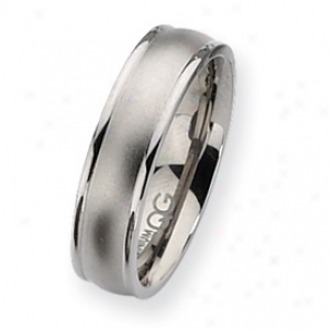 Titanium Ridged Edge 6mm Satin Polished Band Ring - Size 10