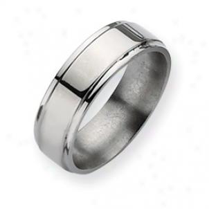 Titanium Ridged Edge 7mm Polished Band Ring - Size 8.25