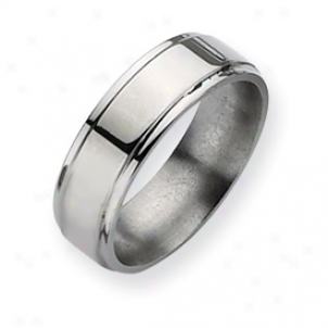 Titanium Ridged Edge 7mm Polisbed Band Ring - Size 8.75