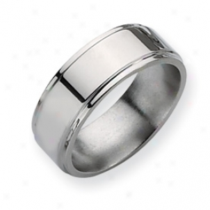 Titanium Ridged Edge 8mm Polished Band Ring - Size 8.75