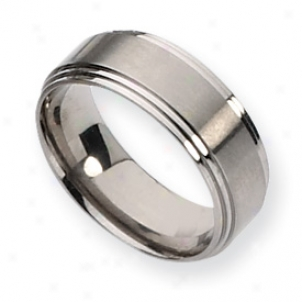 Titanium Ridgrd Edge 8mm Satin Polished Band Ring Size 11.5