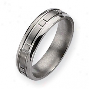 Titanium Square Design 6mm Satin Polished Band Ring - Size 9