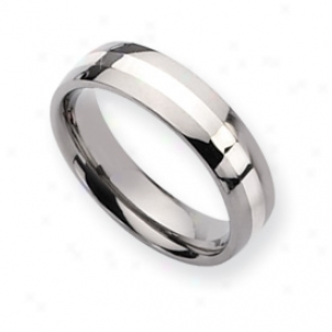 Titanium Sterling Inlay Polished 6mm Wedding Band - Size 15