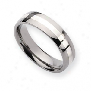 Titzniu mSterling Inlay Polished 6mm Wedding Band Size 9.75