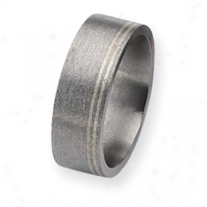 Titanium Sterling Inlays Satin 8mm Band Ring - Size 10.25
