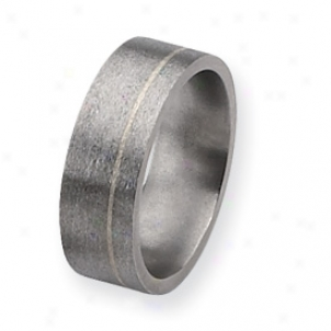 Titanium Sterling Inlays Satin 8mm Band Ring - Size 13.75