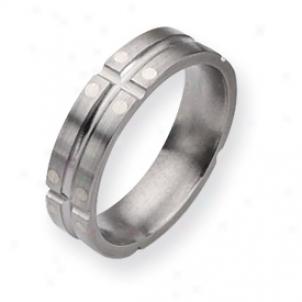 Titanium Sterling Silver Dots 6mm Sat/polish Band - Sie 6