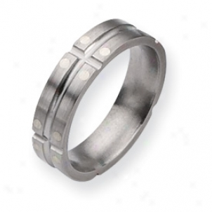 Titanium Sterling Silver Dpts 6mm Sat/polish Band - Size 7.5